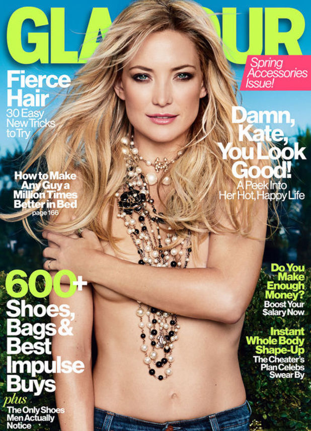 Kate Hudson on the cover of Glamour&#39;s April issue.
