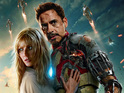 Gwyneth Paltrow clings tights to Robert Downey Jr in the latest Iron Man artwork.