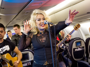 Kim Wilde performs 43,000 ft in the air for Flying Start.
