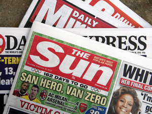 A copy of The Sun newspaper.