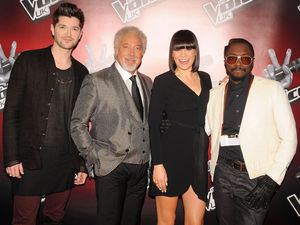 Coaches Danny O'Donoghue, Sir Tom Jones, Jessie J and will.i.am at the launch of latest series of BBC talent show, The Voice, at the Soho Hotel in London.