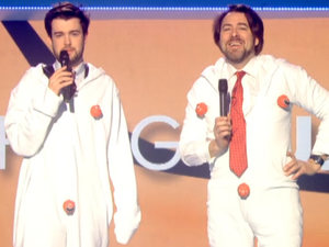 Jack Whitehall and Jonathan Ross get into onesies