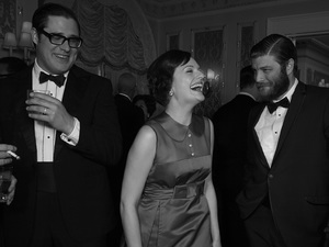 Mad Men Season 6: Harry Crane (Rich Sommer), Peggy Olson (Elisabeth Moss) and Stan Rizzo (Jay R. Ferguson)