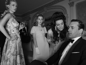 Mad Men Season 6: Betty Francis (January Jones), Sally Draper (Kiernan Shipka), Megan Draper (Jessica Pare) and Don Draper (Jon Hamm)