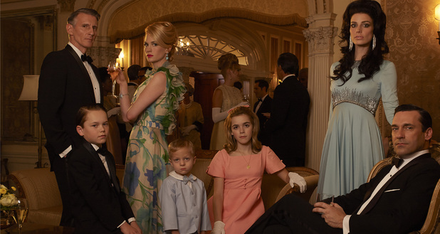 Mad Men Season 6: Henry Francis (Christopher Stanley), Bobby Draper (Mason Vale Cotton), Betty Francis (January Jones), Gene Draper (Evan and Ryder Londo), Sally Draper (Kiernan Shipka), Megan Draper (Jessica Pare) and Don Draper (Jon Hamm)