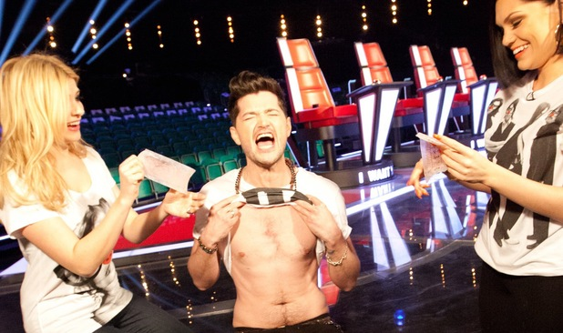 Danny O'Donoghue has his chest waxed by Jessie J and Holly Willoughby for Comic Relief.