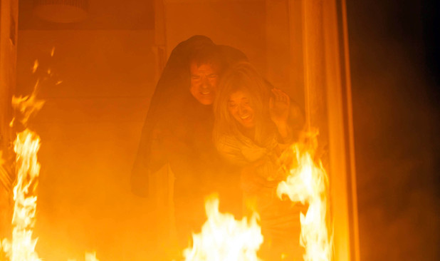 Karl attempts to rescue Stella as The Rovers Return goes up in flames on 'Coronation Street'