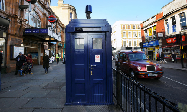 A police box outside Earl's Court station in London