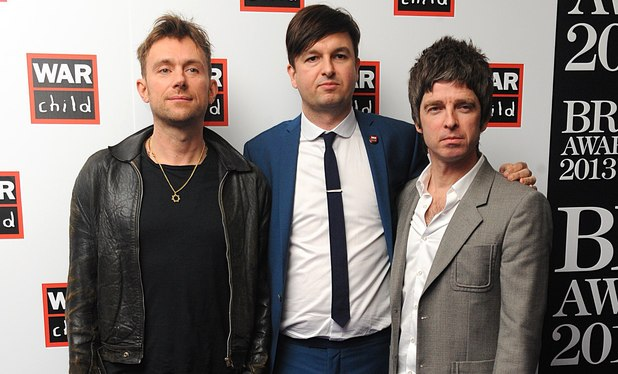 Damon Albarn and Noel Gallagher with Ben Knowles from War Child