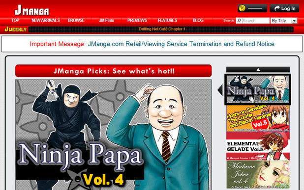 The homepage of jmanga.com which is due to close
