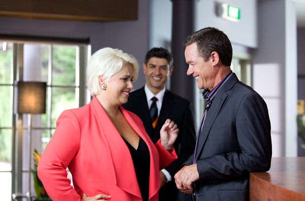 Melissa Bell and Stefan Dennis in Neighbours