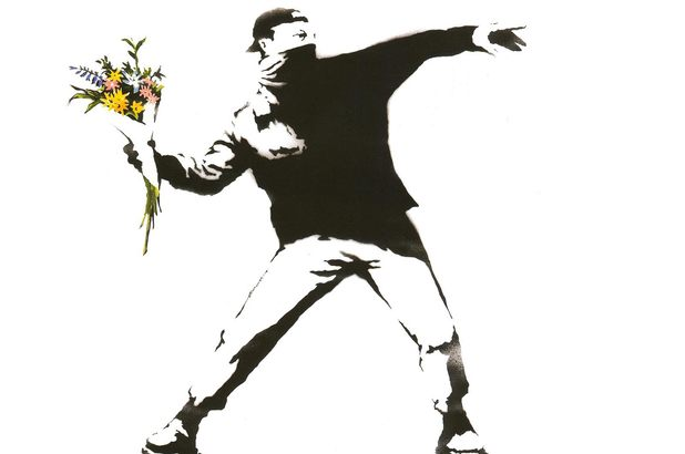 Banksy's Molotov Guy with Flowers