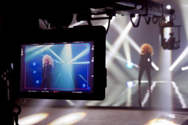 Christina Aguilera shoots 'Feel This Moment' music video.