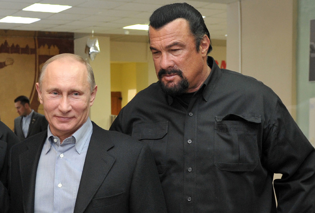 Russia's President Vladimir Putin and American action movie actor Steven Seagal visit a newly-built sports complex of Sambo-70 prominent wrestling school in Moscow.
