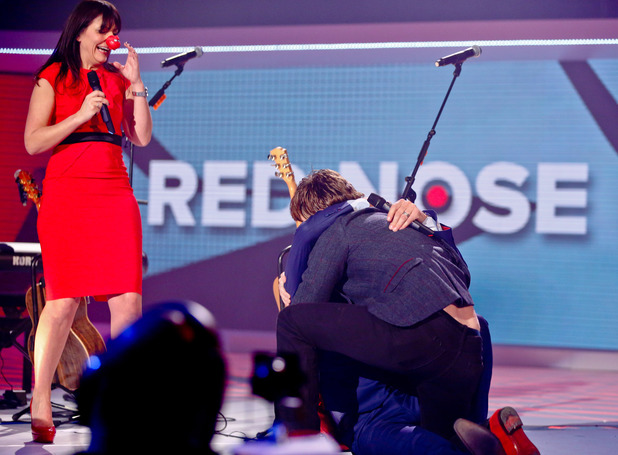 David Tennant kisses John Bishop for Comic Relief