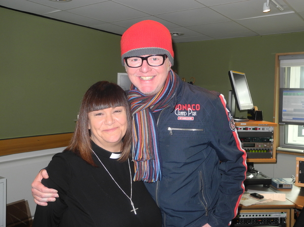 Dawn French as The Vicar of Dibley with Chris Evans for BBC Radio 2 at Comic Relief