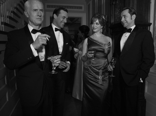 Mad Men Season 6: Roger Sterling (John Slattery), Don Draper (Jon Hamm), Joan Harris (Christina Hendricks) and Pete Campbell (Vincent Kartheiser)