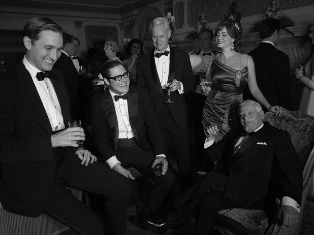 Mad Men Season 6: Ken Cosgrove (Aaron Staton), Harry Crane (Rich Sommer), Roger Sterling (John Slattery), Joan Harris (Christina Hendricks) and Bertram Cooper (Robert Morse)
