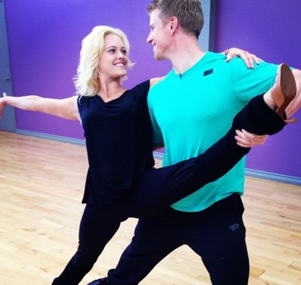 Peta Murgatroyd and Sean Lowe practise their foxtrot