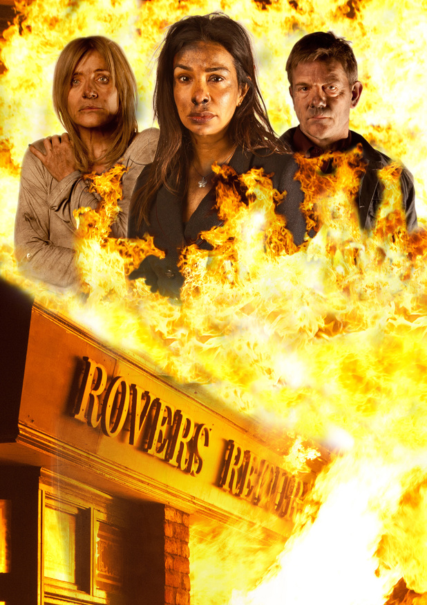 Corrie: The Rovers Return goes up in flames