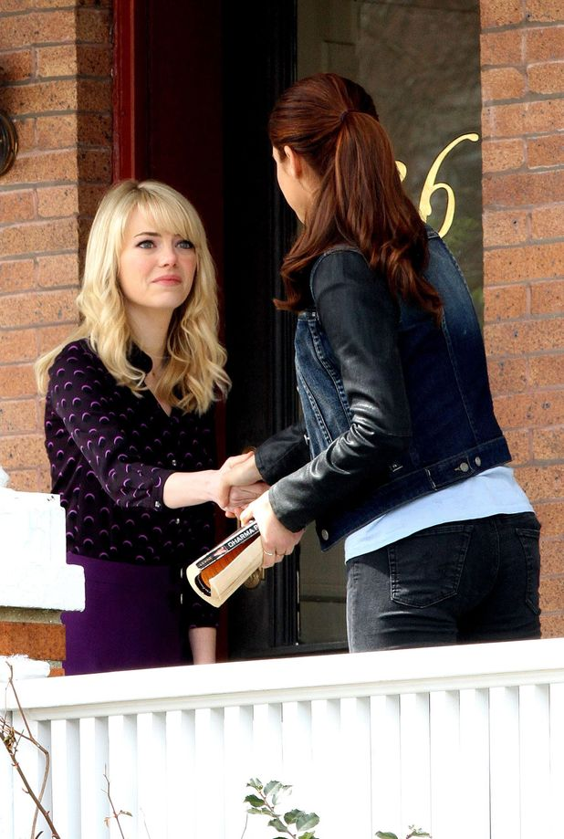 Emma Stone meets Shailene Woodley on the set of 'The Amazing Spider-Man 2' in New York