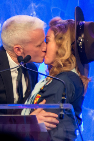 24th Annual GLADD Media Awards - Anderson Cooper and Madonna kiss as Anderson is presented the Vito Russo Award