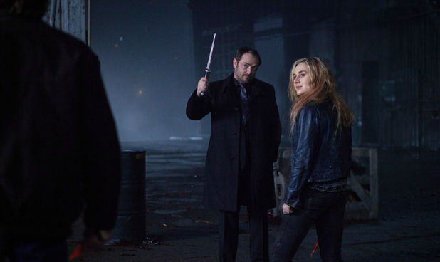 Mark Sheppard as Crowley and Rachel Miner as Meg in Supernatural S08E17: 'Goodbye Stranger'