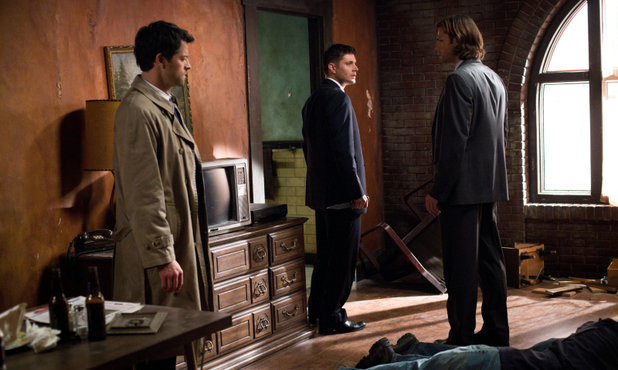 Misha Collins as Castiel, Jensen Ackles as Dean, and Jared Padalecki as Sam in Supernatural S08E17: 'Goodbye Stranger'