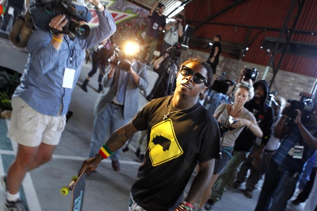 Lil Wayne visits a skateboard park he helped to fund - September 26, 2012