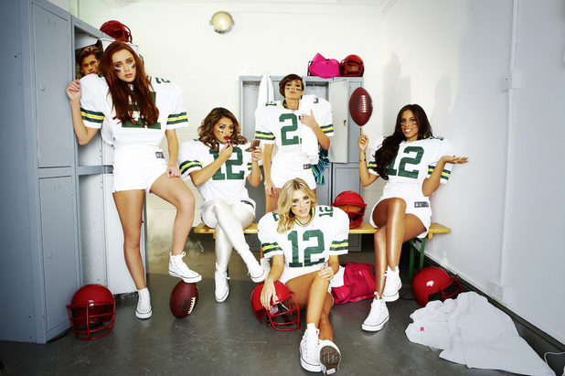 The Saturdays as American footballers for 'Heat'