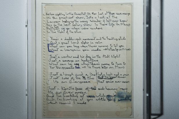 Bowie's 'Life on Mars' hand written lyrics at the 'David Bowie is' exhibition
