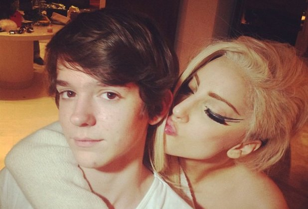 Lady GaGa and Madeon in the recoding studio.