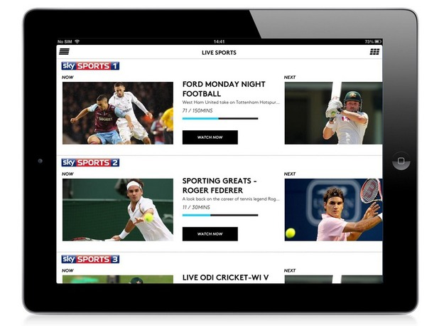 iPad showing Sky Sports on NOW TV