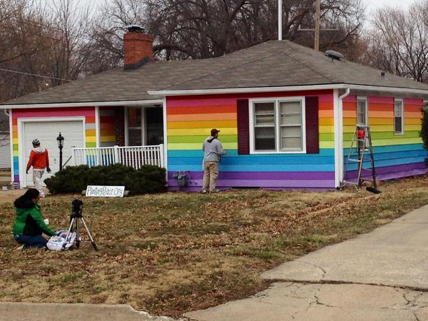House given rainbow pride paint job opposite anti-gay Baptist church