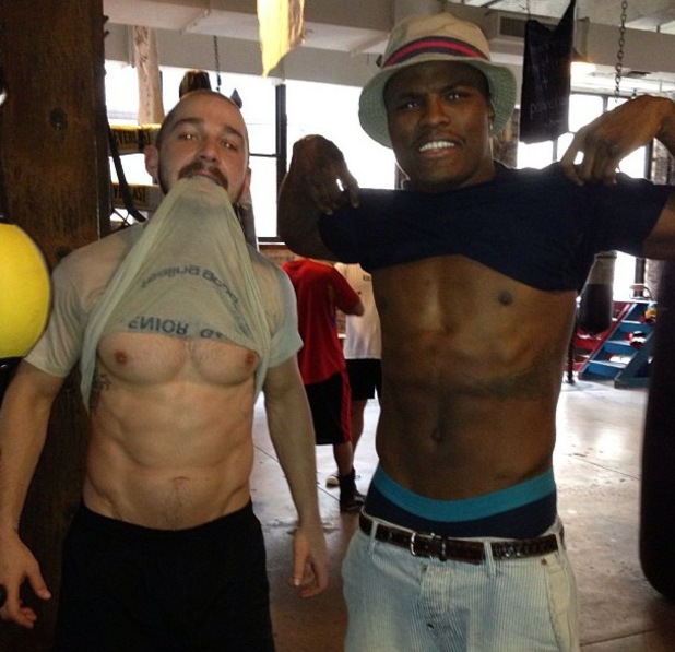 Shia LaBeouf shows off his abs.