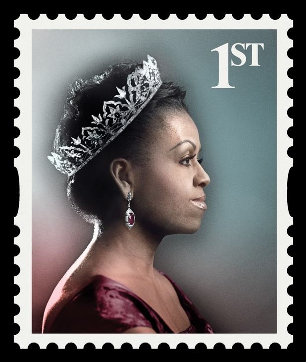 Michelle Obama on a 1st class stamp as the Queen of Fashion