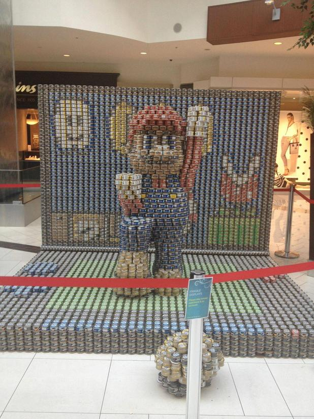 Mario canned food display