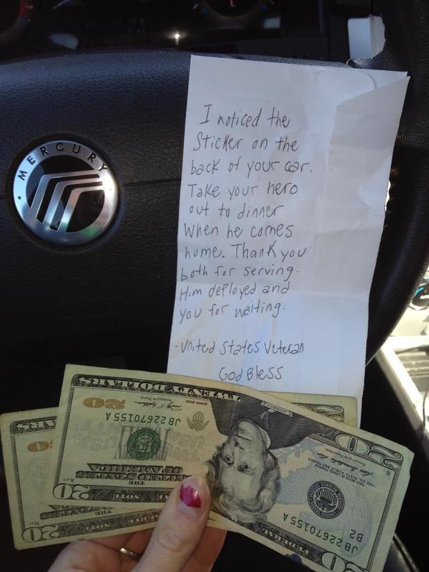 Soldier's girlfriend receives heartwarming note from veteran