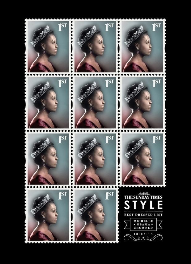A sheet of Michelle Obama 1st class stamps for The Sunday Times