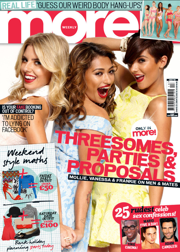 Frankie, Vanessa and Molly of The Saturdays on the front cover of More! magazine