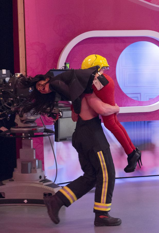 Shobna Gulati gets a fireman's lift on Loose Women