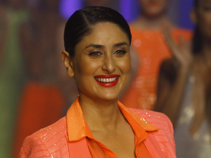 Kareena Kapoor displays a creation by Namrata Joshipura at the grand finale during the Lakme Fashion Week in Mumbai, India, Tuesday, March 26, 2013