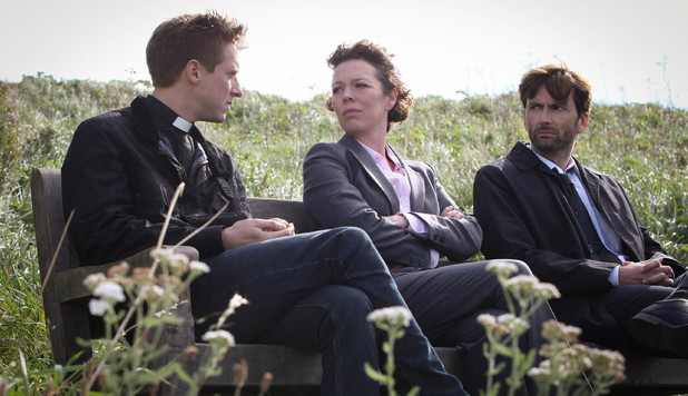 Arthur Darvill as Rev Paul Coates, Olivia Colman as Ellie Miller and David Tennant as Alec Hardy in Broadchurch Episode 4