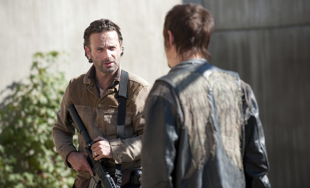 Rick Grimes (Andrew Lincoln) and Daryl Dixon (Norman Reedus) in The Walking Dead S03E15: 'This Sorrowful Life'