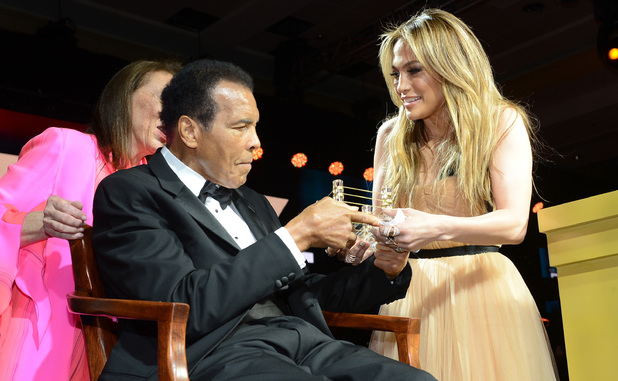 Muhammad Ali & Jennifer Lopez on stage at Celebrity Fight Night XIX
