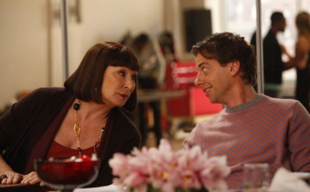 Anjelica Huston as Eileen Rand, Christian Borle as Tom Levitt in Smash S02E08: 'The Bells and Whistles'
