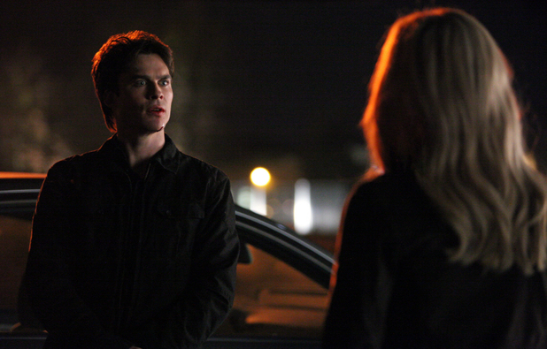 Ian Somerhalder as Damon and Claire Holt as Rebekah in The Vampire Diaries S04E16: 'Bring It On'