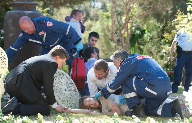 Paramedics rush to Sonya's aid