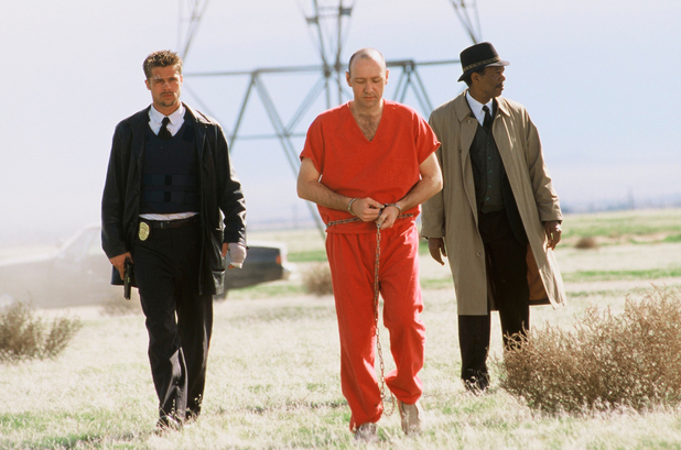 Brad Pitt, Morgan Freeman, Kevin Spacey in 'Se7en' (1995)