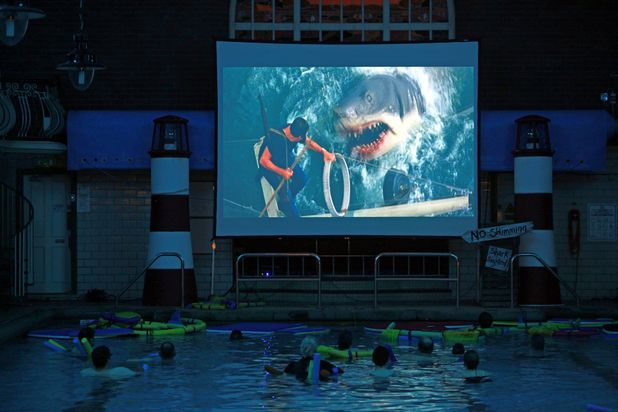Swimming pool turns into an 'underwater cinema'